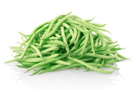Green beans heap isolated