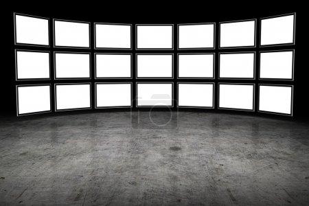 Photo pour Plusieurs téléviseurs avec espace vide - image libre de droit