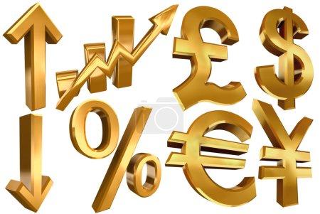 Golden symbols euro dollar pound yen