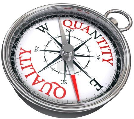 Quality versus quantity conceptual image with compass