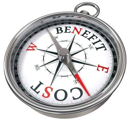 Foto de Beneficio costo concepto brújula icolated sobre fondo blanco - Imagen libre de derechos