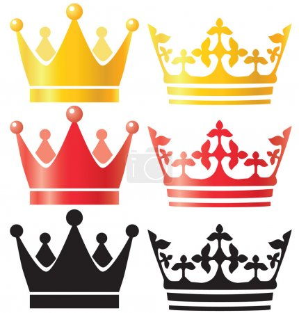 Illustration pour Couronne sertie d'or rouge silhouette vectorielle illustration - image libre de droit
