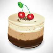 chocolate mousse cake with cherry