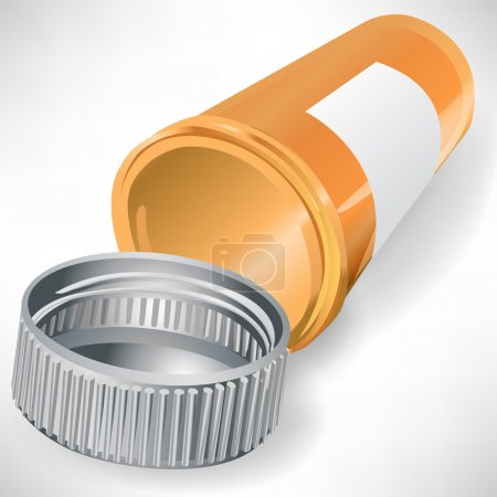 Illustration for Empty pill bottle container isolated on white background - Royalty Free Image