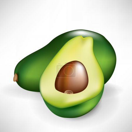half of avocado and whole fruit isolated