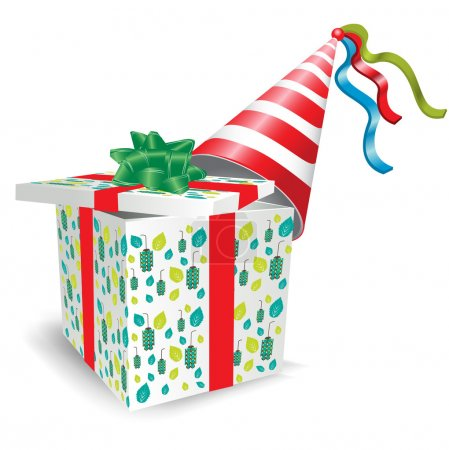 Open gift box with party hat
