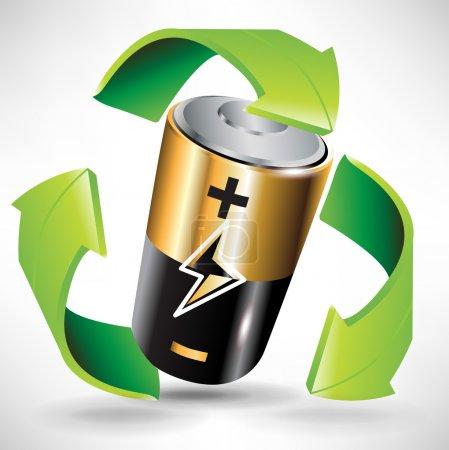 Illustration pour Concept de recyclage de batterie avec batterie et flèches vertes - image libre de droit