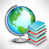 Terrestrial school earth globe and pile of books