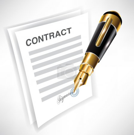 Signing contract with pen