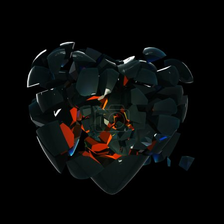 Photo for Broken into pieces black glass heart isolated on black - Royalty Free Image