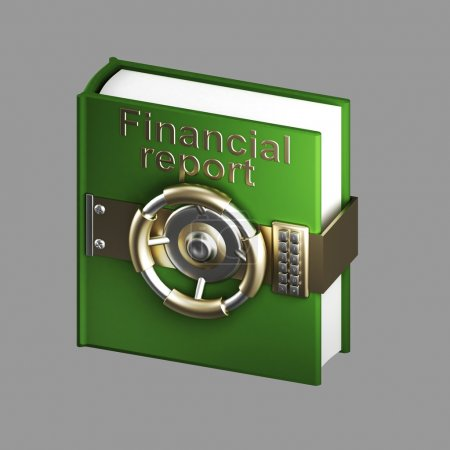 Financial report book vault isolated on grey
