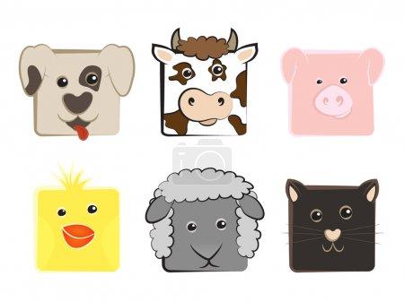 Illustration pour Collection d'animaux domestiques dessinés en carré - image libre de droit