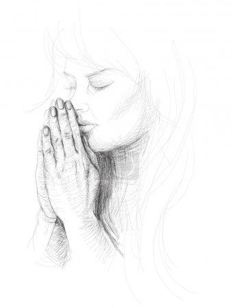 Illustration pour Portrait d'une jeune femme en prière / Croquis vectoriel réaliste - image libre de droit