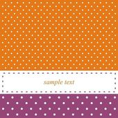 Orange and violet vector card or invitation with polka dots