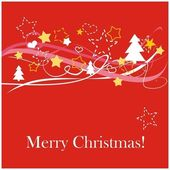 Red vector background or card with stars tree and Merry Christmas text