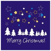 Navy blue vector background or card with stars tree Merry Christmas