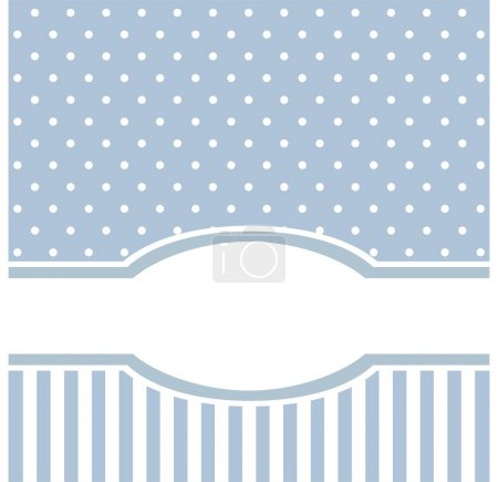 Sweet blue polka dots vector card invitation - birthday, baby shower, wedding