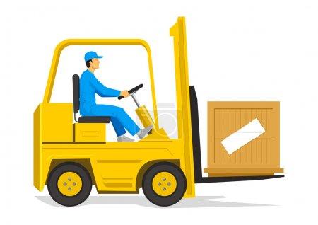 Illustration of a man driving a forklift...