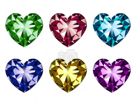 Illustration for Illustration of heart-shaped gems isolated on a white background. - Royalty Free Image