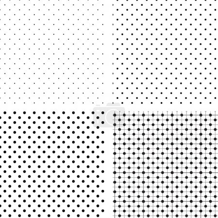 Illustration for Illustration vector background, Seamless pattern pois white and black - Royalty Free Image