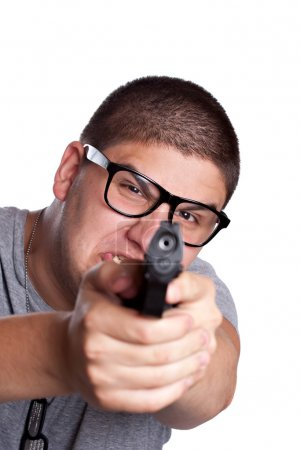Teenage Boy Pointing a Gun and Yelling