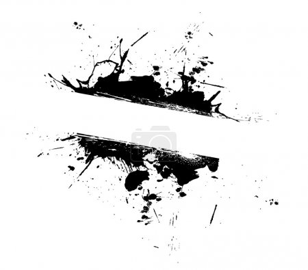 Illustration for An abstract paint splatter frame in black and white. This vector is fully editable. - Royalty Free Image