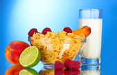 Chutné cornflakes, ovoce v skleněné mísy a mléko