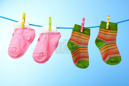 Children's socks on a rope