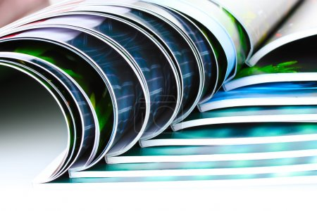 Magazine on blue background...