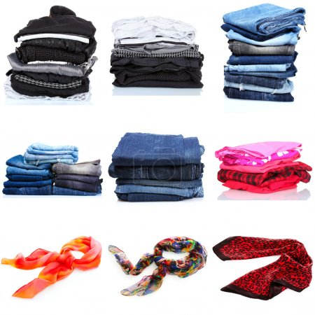 Collage of the piles of clothes. isolated on white