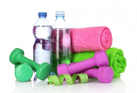 Towel, dumbbells and water bottle