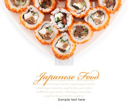 Photo for Japanese food. Rolls on a plate isolated on a white background - Royalty Free Image