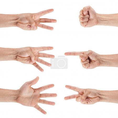 Photo for Set of male hands isolated on white background - Royalty Free Image