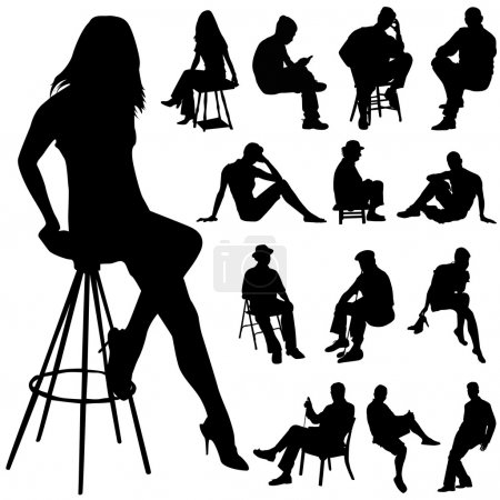 Set of sitting silhouette...