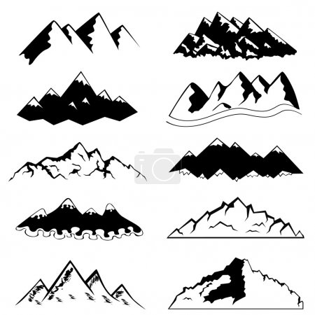 Illustration for Set of mountain silhouette - Royalty Free Image