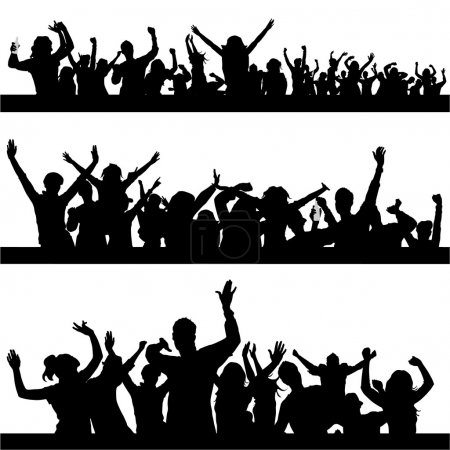 Photo for Set of party peoples silhouette - Royalty Free Image