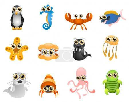 Cartoon marine life