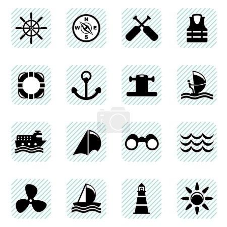 Sailing icons set