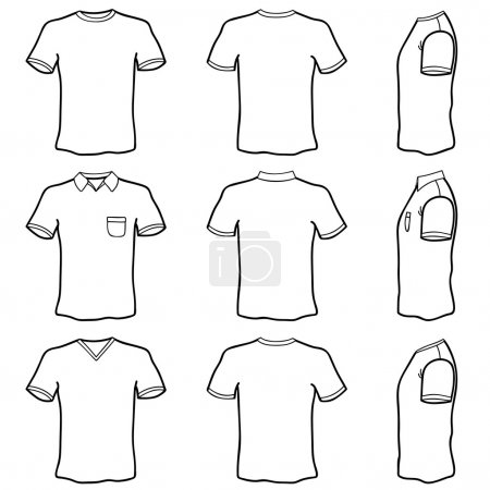Photo for Blank t shirt set (front, back and side view) - Royalty Free Image