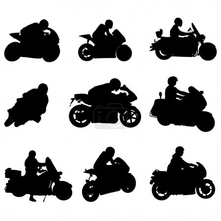 Illustration for Motorcycle silhouette set - Royalty Free Image