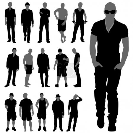 Illustration for Fashion man silhouettes set - Royalty Free Image