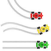 Race cars with various tyre treads