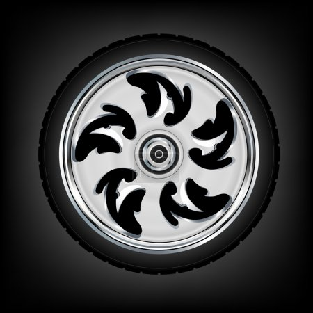 Illustration for Motorcycle wheel and tyre vector - Royalty Free Image