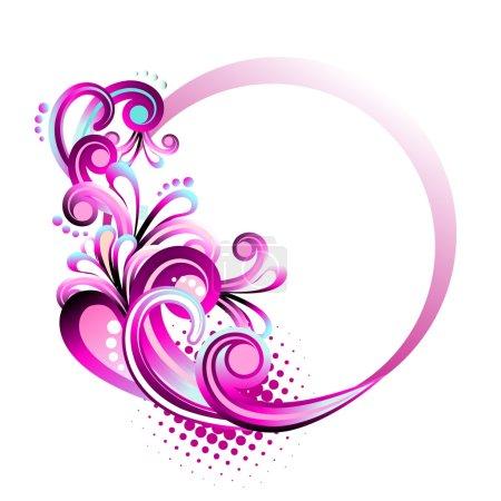 Illustration for Floral circle frame vector - Royalty Free Image