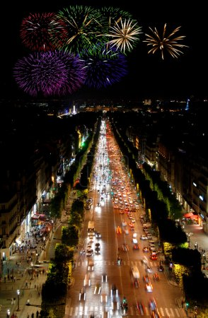 Champs Elysees at night and fireworks