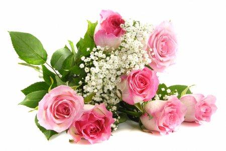 Photo pour Beau bouquet de roses roses isolé sur blanc - image libre de droit