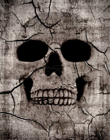 Photo for Grunge spooky skull background with various cracks - Royalty Free Image