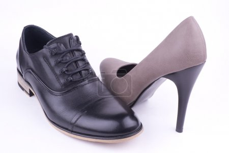 Photo for One male and one female shoe, isolated - Royalty Free Image