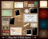 Vintage Stuff Extreme Collection - 3 seamless wallpaper a parchment photoframes adhesive straps vintage labels postcards Ribbon postage stamps and so on