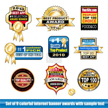Set of internet certification award banner